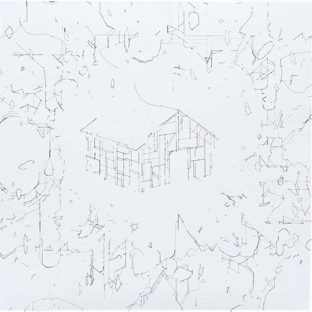 Keita Mori, Bug report, 2013 Fil de coton sur papier, 50 x 50 cm © ADAGP Keita Mori Photo. Tagma Hiroki Courtesy de l'artiste