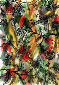 Camille Lavaud, Tapisserie mauriacienne, 2020, 40 X 60 cm, encres acryliques sur papier