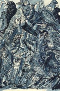 Camille Lavaud, les oiseaux, 2020, 21 X 29,7 cm, encres acryliques sur papier, collection particulière