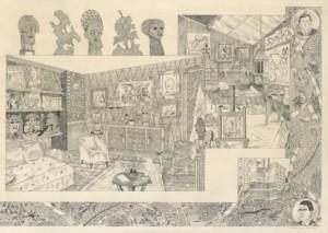 Camille Lavaud, Le logis, 2021, 42 x 29,7 cm, encres acryliques sur papier, collection CNAP