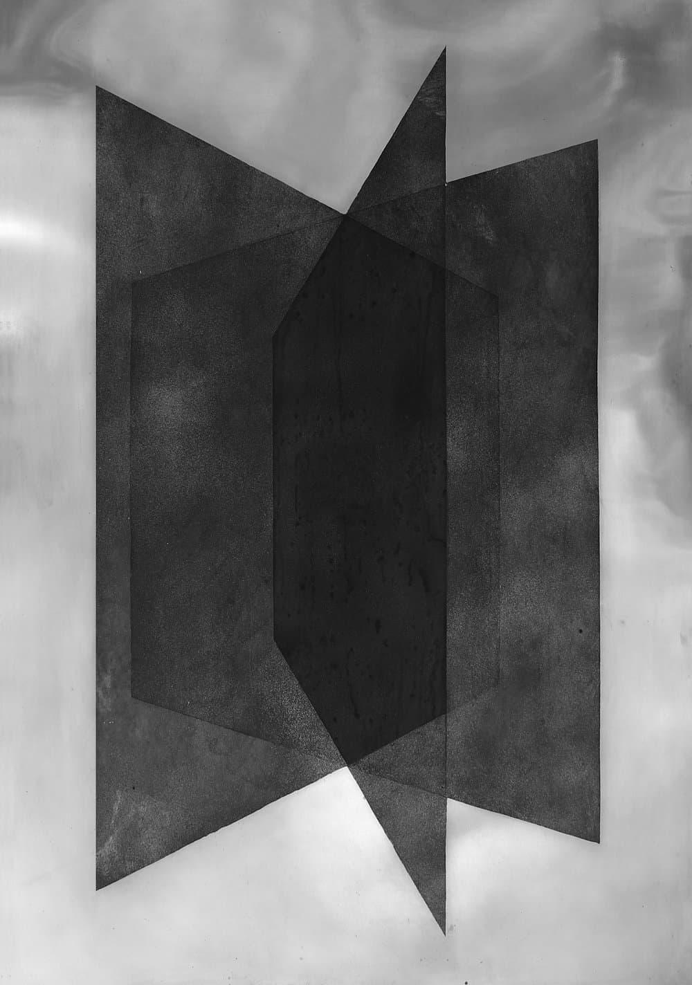Pia Rondé et Fabien Saleil, Plans, 2017 Dessin à l'eau-forte et aquatinte sur plaque de zinc, 90 cm x 70 cm. Unique  Courtesy des artistes et Galerie Escougnou-Cetraro