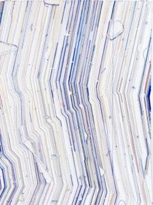 Keita Mori, Bug report, 2019, Fil de coton/soie, fil de cuivre, tissu, caran d'ache sur papier 17 x 87 cm. Photo. Shinya Kigure. Courtesy the artist and Galerie Catherine Putman, Paris & rin art association, Takasaki