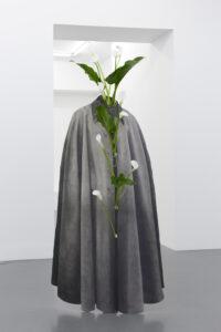 Daniel Otero Torres, Tiempo sin verte, 2018, Crayon sur aluminium, acier, verre, plantes, 86 x 160 x 49 cm