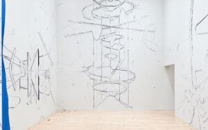 Keita Mori, Bug report, 2020, fil de coton et fil de soie, sur mur. Vue de l'exposition  «The Potentiality of Drawing», Museum of Contemporary Art Tokyo, Tokyo (JP). Curator: Naoko Seki. Soutien de la production: Asahi Shimbun Foundation.