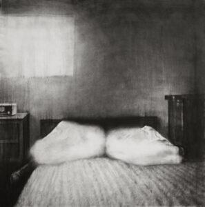 Guy Obserson, Love Identity 6, 2019, pierre noire sur papier, 150 x 150 cm. ©G.Oberson