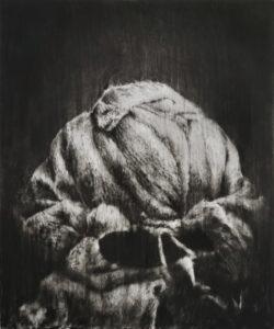 Guy Oberson, Vanity, 2017, pierre noire sur papier, 165 x 138 cm. ©G.Oberson