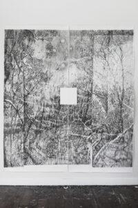 François Réau, L'abîme libre blanc, 2017, mine de plomb et graphite sur papier, 257 x 228 cm, Vue d'atelier Bundanon Trust Australie