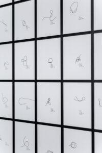 Elsa Werth, Signatures, 2018, fil de coton noir, impression numerique sur papier, 21 x 29,7 cm
