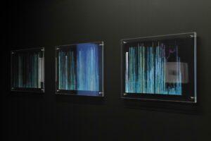 Naomi Cook, Mt.Gox_2011-2014, 2018, plexiglass, gouache, 36.34 x 51.5 x 6 cm (each). ©Olivier Lechat