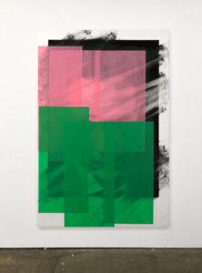 Valentin van der Meulen, Affiché(es) 7, 2020, 195 x 130 cm, fusain, pierre noire et papier coloré sur papier marouflé sur bois, monté sur chassis