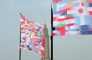 LUCY + JORGE ORTA, ANTARCTICA FLAG - LE HAVRE VILLE MONDE, 2014, Inkjet on polyamide, 200 x 300cm ©LUCY + JORGE ORTA