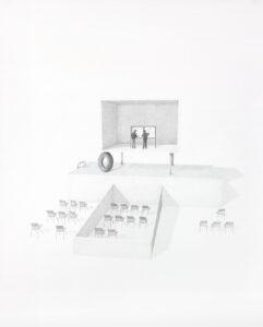 Massinissa Selmani, L'aube insondable #3, 2018, graphite et crayons de couleur sur papier, 124 x100 cm, Courtesy Galerie Anne-Sarah Bénichou (Paris), © ADAGP Paris, Collection Centre national des arts plastiques (CNAP).