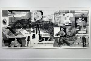 Thomas Leon, Naked mineralogy, 2018, Fusain sur papier, 166 x 360 cm ©Thomas LEON