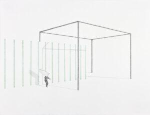 Massinissa Selmani, Éclat, 2020, graphite et crayons de couleur sur papier, 50 x 65 cm, Courtesy Selma Feriani Gallery (Londres- Tunis), © ADAGP Paris.