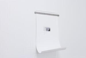 """Massinissa Selmani, Sans titre #5, 2018, série des """"Altérables"""" graphite sur papier calque, adhésif, papier, règle graduée 80 x 46,5 cm/ règle: 50 cm, Courtesy Galerie Anne-Sarah Bénichou (Paris),  © ADAGP Paris."""