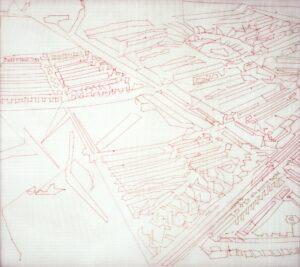 Claire Maugeais, Trame rouge n°2, 2000, 103 x 118 cm, fils de soie sur trame plastique