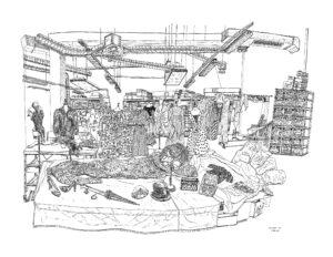 Christelle Téa, Réserve du Palais Galliera, rue Sevran, Paris, 9.XII.2019, encore de Chine sur papier, 50 x 65 cm. ©Christelle Téa