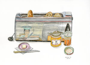 Christelle Téa, Petit-déjeuner, 6.IV.2020, encore de Chine et aquarelle sur papier, 26 x 36 cm. ©Christelle Téa
