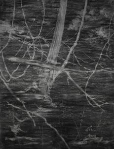 Fabrice Cazenave, Blind landscape, fusain sur papier, 200 x 150 cm 2018