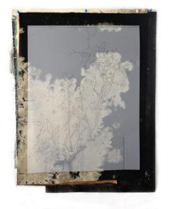 Fabrice Cazenave, Transcription d'un état physique, technique mixte et dessin sur film polyester, 84 x 66 cm, 2018