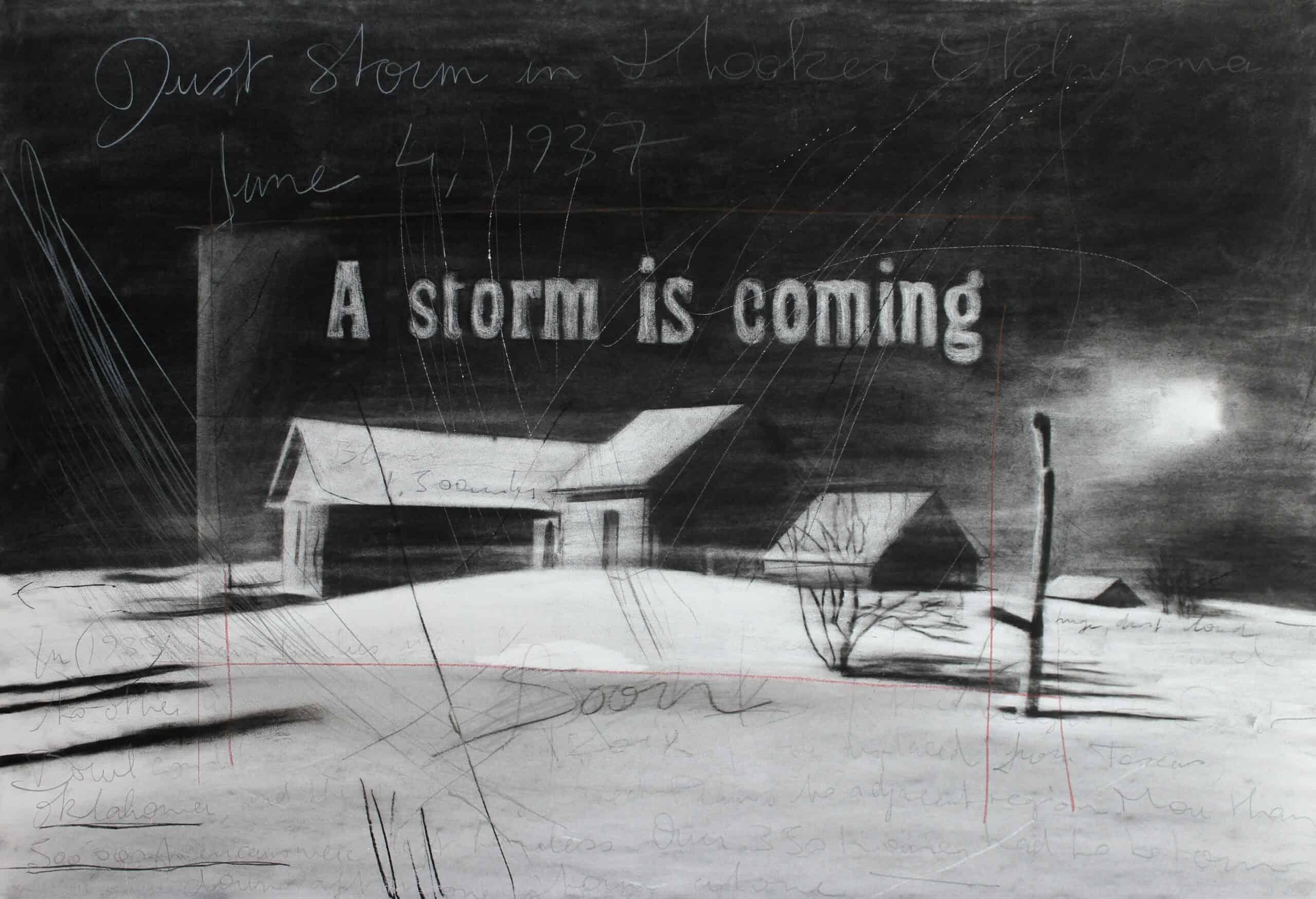 Gabriel Folli, A storm is coming, fusain, pierre noire, graphite et crayon de couleur sur papier, 75 x 110 cm, 2017. © Gabriel Folli