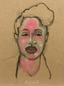 Dalila Dalleas Bouzar, Aicha, Studio Dakar (série), 40X30 cm, huile sur toile, 2016. © Dalila Dalléas Bouzar ©ADAGP - courtesy galerie Cécile Fakhoury