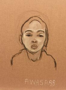 Dalila Dalleas Bouzar, Awassab, Studio Dakar (série), 40X30 cm, huile sur toile, 2016. © Dalila Dalléas Bouzar ©ADAGP - courtesy galerie Cécile Fakhoury
