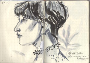 Camille Chastang, Hélo comme un tableau, dessin au feutre et encre sur papier, 21 x 29, 7 cm, 2020