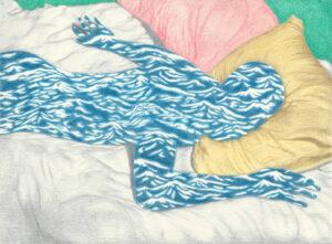 Maxime Verdier, Hadal, crayons de couleur sur papier, 18 x 14,5 cm, 2020