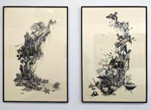 Marie Havel, Jumanji #22 & Jumanji #23, 2018, dessins au graphite sur papier, encadrés sous verre, 100 x 70 cm chaque. Courtesy de l'artiste et Galerie Jean-Louis Ramand.