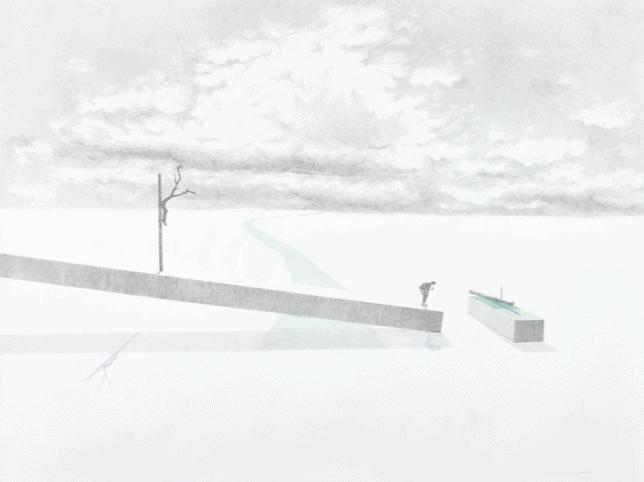 MASSINISSA SELMANI, Aube insondable #4, 2020, Graphite et crayons de couleur sur papier, 75 x 100 cm