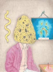 Maxime Verdier, Islands of nowhere, crayons de couleur sur papier, 14,8 x 20 cm, 2020