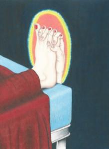 Maxime Verdier, La prière du soir, crayons de couleur sur papier, 40 x 30 cm, 2019