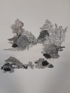 Raphaëlle Peria, Marais de Bourdon, encre de chine et grattage sur papier, 36 x 26 cm, 2019