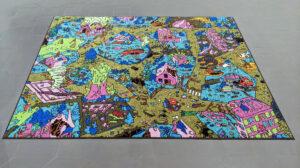 Marie Havel, Tapis de jeux, 4, 2020, dessin imprimé sur tapis, pièce unique, 150 x 200 cm. Courtesy de l'artiste et Galerie Jean-Louis Ramand.