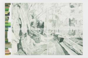 Gabriela Albergaria, Landscape in Repair #1, 2019. Colour pencil on Heritage Woodfree Bookwhite 315 gsm paper, 206 × 303 cm. ©Bruno Lopes