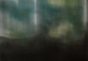 Benjamin L. Aman, La chaleur du moteur qui tourne, 2016, graphite pastel sur papier, 57 x 76 cm
