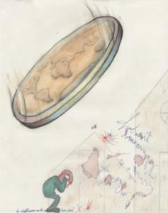 Boris Kurdi, Sans titre, 2018, encre, graphite et crayon de couleur sur papier, 30x42cm