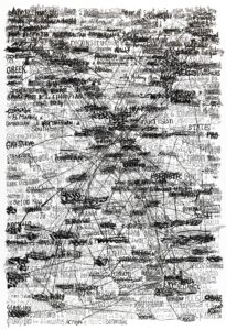 Thibault Scemama de Gialluly, Broad army direction (political party rulling at U.N.), 70x100, encre sur papier, 2015