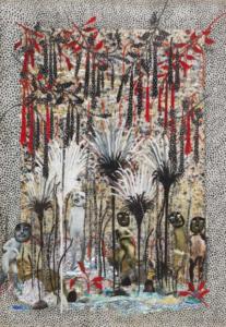 Camille Fischer, SANS TITRE, 2018. Collage, papiers bonbon, papiers cadeau, agraffes et techniques mix- tes sur papier et verre, 62x45cm