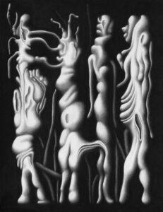 Chloé Poizat, DANS LA NUIT (série), Sans titre, 2018, fusain sur papier, 50 x 65 cm
