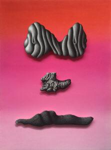 Chloé Poizat, LAMBEAUX (série), Sans titre (visage-pierres-rose), 2019, pastel sec et fusain sur papier, 43,8 x 59,8 cm, collection du MASC