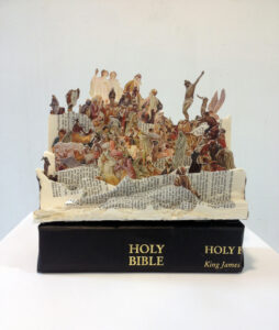Emily Lazerwitz, Holy Bible, Two King James Bibles, tape, wood, 20 x 15 x 15 cm, february 2015