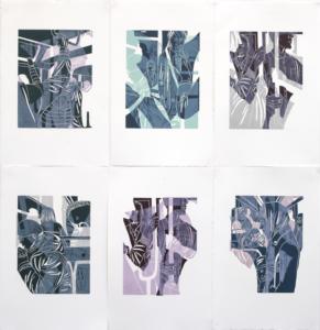 Gabrielle Kourdadzé, Ligne 4, 2019, série de gravures sur bois imprimées sur papier BFK Rives, 50 x 30 cm