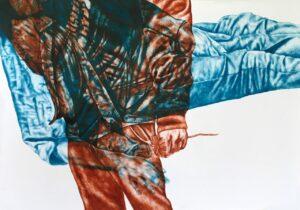 Gabrielle Kourdadzé, Moi tu vois je préfère être sur le côté et regarder, 2021, encre sur papier, 112,5 x 62,5 cm