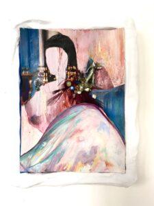 Vanina Langer, Enigme V, 2019, collage dessiné, perles, 19 x 13 cm