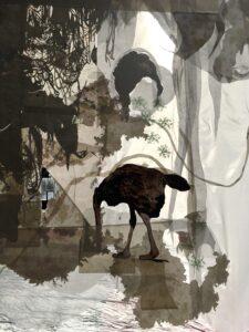 Vanina Langer, Femme-soleil (détail), 2021, dessin, photo et tissus marouflés sur toile, 330 x 700 cm (en trois pans suspendus), Garage Amelot