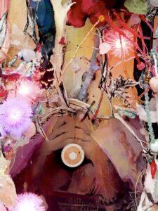 Vanina Langer, LA DADATURA (détail),  2020, peinture sur papier marouflé sur polystyrène, leds, fils de fer, perles, dessins découpés, branches, argile, plomb..., 100 x 35 x 25cm.