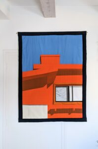 Martinet & Texereau, Maison orange, 135 x105 cm, encre et tissus, 2021
