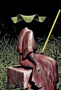 Matthias Lehmann, Bâton jaune, 2014. Carte à gratter et encres de couleur, 15x22 cm. Exposé à la galerie Arts Factory en 2014.